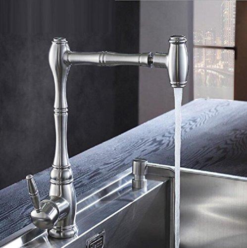 AMZH Küchenarmaturen Edelstahl Einloch Bad Waschbecken Wasserhahn kann 360 Grad gedreht werden Waschbecken Waschbecken heiß und kalt Wasserhahn