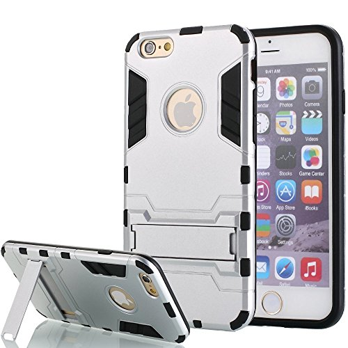 [iPhone 6 Plus hülle] Lantier [High-Quality] [Perfect Fit] [Tire Design Haut] 2 in 1 Combo Rugged Dual Layer [Heavy Duty-Kasten] Abnehmbare Seitenständer [Protective Shell] [Hard Case] ??für iPhone 6  Silber