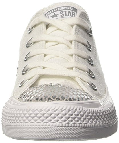 Converse Damen All Star Metallic Toecap Sneakers Weiß (White/silver/white)