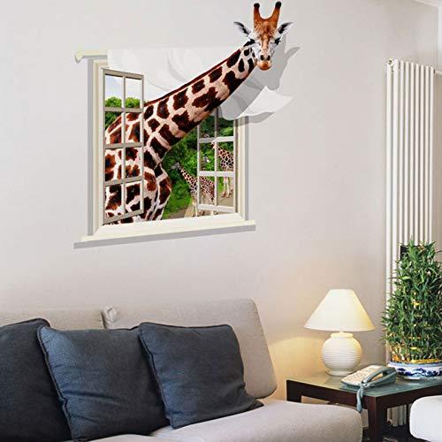 WCYLD Wandaufkleber Große 3D-Effekt Giraffe Dekor Wandbild Wasserdicht Kinder Baby Schlafzimmer Wandaufkleber