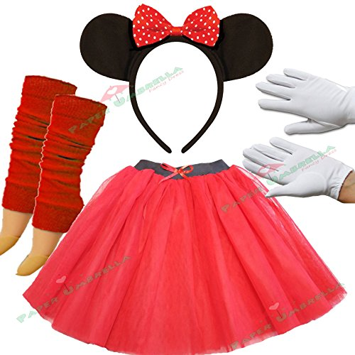 Image of Minnie Mouse Ladies Fancy Dress Tutu Ears Gloves Legwarmers Set outfit (Full 4 piece set)