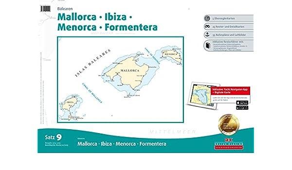 SEEKARTEN Satz 9 Revierführer Seekarte Balearen Mallorca Ibiza Yacht Navigator