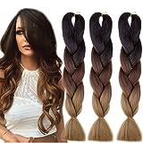 Emmet Extension de cheveux de tressage jumeaux de tresses 100% de Kanekalon paquets 100g / pc synthétiques de cheveux synthétiques 24 pouces 3Pcs cheveux résistants