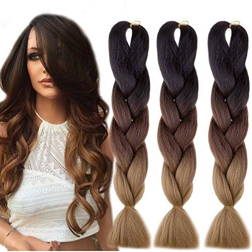 Jumbo Braids-Premium Qualität 100% Kanekalon Braiding Haarverlängerung Full Bundles 100g / pc Synthetik Haar Ombre 24Inch 3Pcs / lot Hitzebeständig, lange Zeit mit-37 Farben 2Tone & 3Tone, Garantie 1 Woche ändern oder Rückerstattung (Farbe 86)