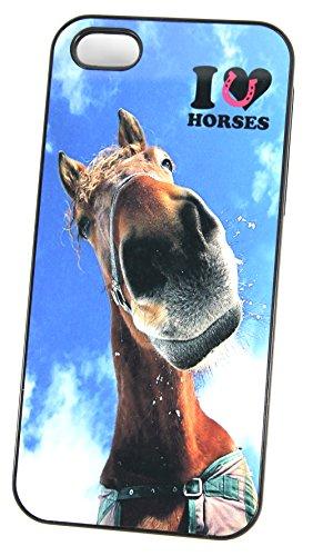 I Love/chevaux de cœur insolite Coque (iPhone 4/4S Noir Rigide Plastique Housse/Coque de téléphone