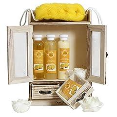 Idea Regalo - Brubaker, Set sapone bagno e doccia con armadietto in legno, 10pezzi