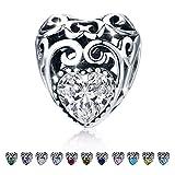 Avril Birthstone Charms- feuilles coeur de perles de perle coeur - 925 en argent Sterling plaqué charme ajouré ajustement charme Bracelet Collier pour les femmes, fille, femme, amie, mère