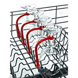 bobo4818 WeingläSer 4pcs Justage Silikon Weinglas Geschirrspüler Becherhalter Weingläser Halter Champagne Cup Kleiderbügel Rack Halter mit Schrauben Safer Stemware Saver (4 PCS-red)