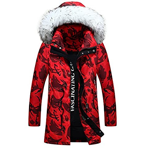 Hiver New Style Wool long collier de manteau chaud rembourré , red , xxxl