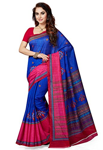 Ishin Bhagalpuri Art Silk Blue & Pink Party Wear Wedding Wear casual Daily Wear Festive Wear Bollywood New Collection Printed Latest Design Trendy Women\'s Saree