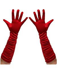 Long Ruched Satin Evening Gloves - Red