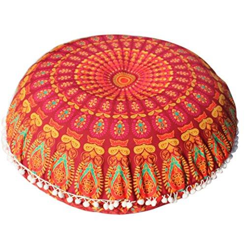 Cloom federa cuscino, cuscini indiano mandala cuscini rotondi bohemian home cuscino cuscini cuscino copertura cuscini rotondi boemia stampa cuscino federa (arancia, 1pc)