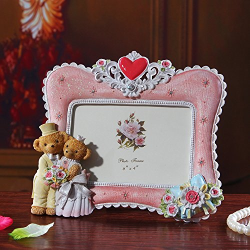 Orso SUUNHHMini giovane 6 pollici photo frame poliresina regalo di compleanno ornamenti casa,6 pollici