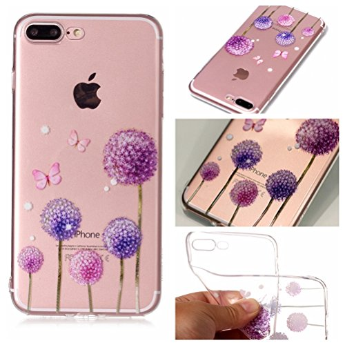 iPhone 7 Plus Hülle, Voguecase Silikon Schutzhülle / Case / Cover / Hülle / TPU Gel Skin für Apple iPhone 7 Plus/iPhone 8 Plus 5.5(Zitrone 06) + Gratis Universal Eingabestift Lila Löwenzahn 02
