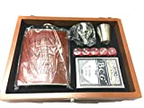 Msa Jewels Presents Leather Stainless Steel Hip Flask with Shot Glass + Funnel + 5 Dices + Poker Cards, 8 Oz (230 Ml) with Exclusive Box (Brown, Set of 6)