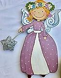 Fee blumenkranz. Nachtlich, schlummerleuchte für kinder. Babyzimmer deko. Originelles geschenk Neugeborenes, handggemacht aus Holz. Personalisiert Ambient lampe für Kinderzimmer.