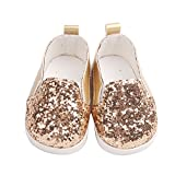 Doircal 1.6x2.8 inch Glitter Doll Shoes Dress Shoe for 18 Inch Our Generation American Girl Doll