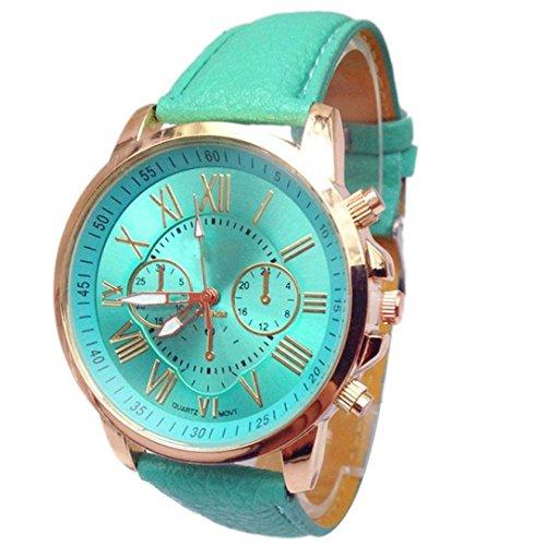 Sannysis Uhren, Damen Stilvolle Zahl Faux Leder Analoge Quarz Armbanduhr