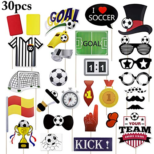 Sayala 30 Stücke Fußball Photo Booth Requisiten Kit 2019FIFA World Cup Party Photo Booth Requisiten Super Bowl Party Games Ideen für Fußball Partydekorationen Lieferungen