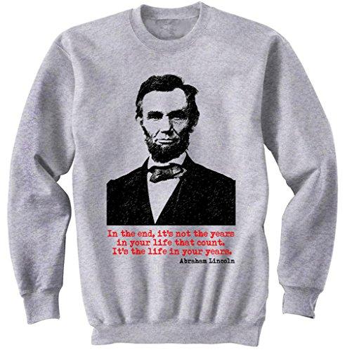 Teesquare1st Men's ABRAHAM LINCOLN Grey Sweatshirt Size Large