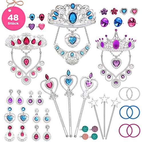 Up Einfach Kostüm Dress - Tagitary 48 Stück Prinzessin Schmuck-Dress-Up-Zubehör Spielzeug-Set für Mädchen Prinzessin Party und Kostüme mit Kronen, Halsketten, Zauberstäbe, Ringe, Ohrringe und Armbänder