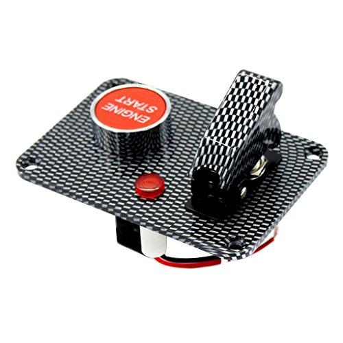 Homyl Bouton-Poussoir Démarrage du Moteur avec Panneau d'Interrupteur à Bascule - Fibre de Carbone