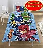 Unbekannt PJ Masks Superhelden-Bettwäsche-Set, wendbar, für Einzelbetten, Pj Mask - Save The Day, Einzelbett