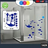 Aufkleber für docce-fantasia Blasen, Hai und Fische Tropische Cod.1429 blau