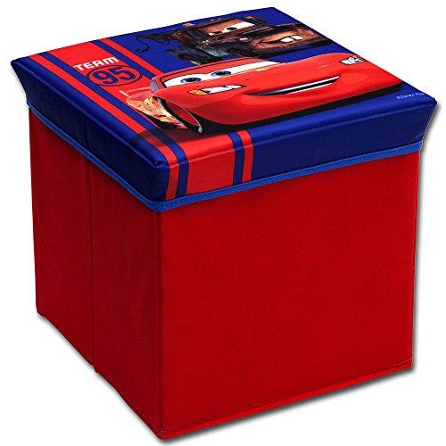 Hocker mit Stauraum mit Motivauswahl - Aufbewahrungsbox - Spielzeugkiste - Spielzeugtruhe - Spielzeugbox - Aufbewahrungskiste - Hocker (Cars)