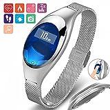 Aquarius Universal Fitness-Armband, oval, wasserdicht, zur Verfolgung von Fitness-Zielen, mit Herzfrequenz-Monitor und anderen Funktionen, silber
