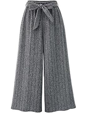 SYGoodBUY Pantalones de Primavera de la Caída de Las Mujeres Pantalones Sueltos de la Pierna Ancha Nudo de Lazo...