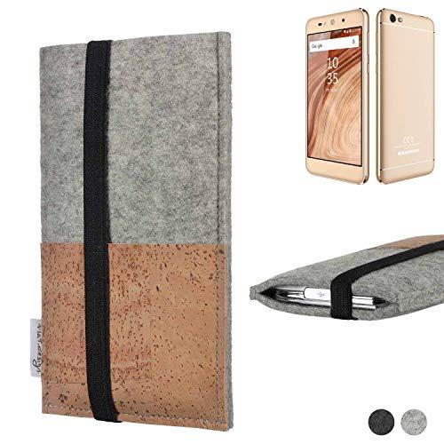 flat.design Handy Hülle Sintra für Blaupunkt SL02 Handytasche Filz Tasche Schutz Kartenfach Case Kork