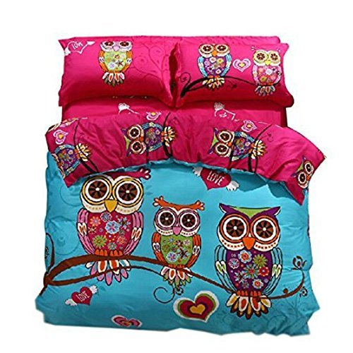 svetanya Cartoon Stil Eulen Bettbezug, bedruckt Set 400 TC, 100% WEICHE BAUMWOLLE STOFF bedlinens Twin Full Queen King Größe Betten Sets, baumwolle, multi, King Size -