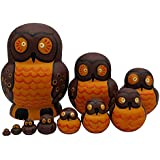 Pivizon 10 Pieces Set Of Russian Nesting Dolls Owl Family Handmade Matryoshka Wooden Toys For Kids Birthday Gift Idea For Daughter & Son