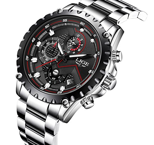 Watch,Mens Watches Luxury Classic Black Stainless Steel Watches Business Casual Watches Waterproof Multifunctions Quartz Wrist Watch