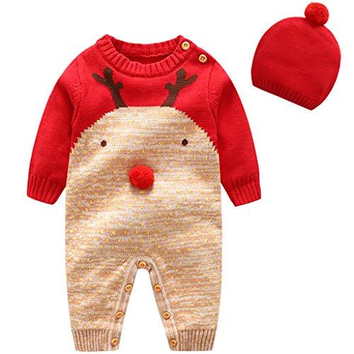 Baby Schlafanzüge Strampler Kleidung set Pullover - Kleinkind Overall mit Hut Schlafstrampler Baumwolle Langarm Pyjama Säugling Weihnachten Kostüme Einteiler Xmas Outfit Jungen Mädchen (Kleinkind Weihnachten Kostüm)
