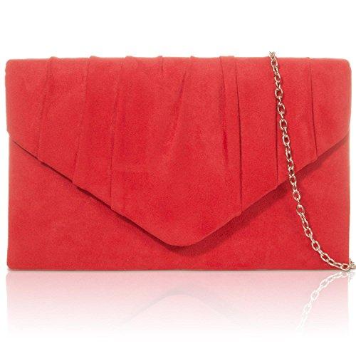 Xardi London - Clutch in finta pelle scamosciata Red