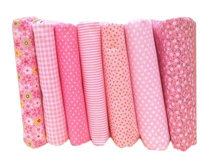 Yalulu 7 Stück 50x50cm Patchwork Baumwollstoff vorgestanzten Baumwolle Quilt Stoff Viertel DIY Stoffreste Paket Stoffpakete (Rosa)