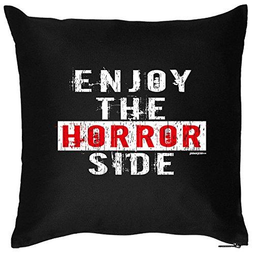 Motiv: Enjoy the Horror Side - Halloween Deko für das Wohnzimmer - Couch - Sofa - schwarz (Billig Horror Kostüme)