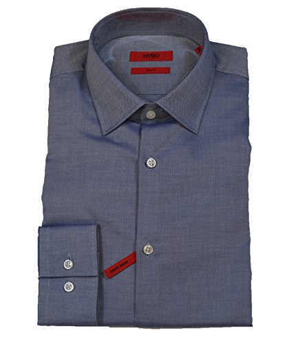 Hugo Boss Herren Business-Hemd, Einfarbig Blau