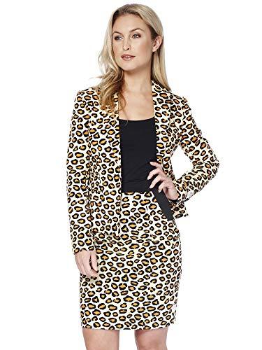 Kostüm Katze Clevere - OppoSuits Damen Anzüge mit bunten Prints - Komplettes Set mit Bleistiftrock und Jacke,Größe:US10/ UK 14 / DE 40,Lady Jag