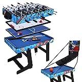 Multigame Tisch klappbar, 5 in 1 Tischkicker, Hockey, Tischtennis, Billardtisch, Basketballtisch Multi Spieltisch Blau(C)