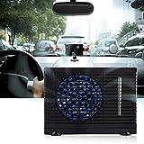 Mini ventilatore condizionatore da auto, 12 V, portatile, condizionatore di acqua evaporazione, ventilatore mobile con tappetino antiscivolo per auto, casa (nero)