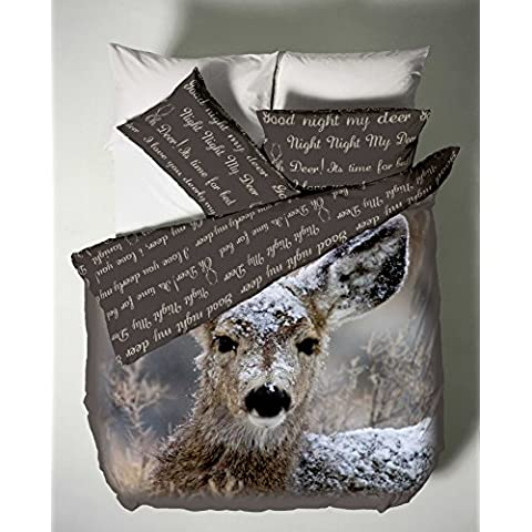Catherine Lansfield CL Oh Deer - Juego de funda nórdica para cama de 135 cm