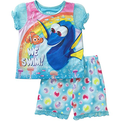 Disney Finding Dory Toddler Girl We Swim Puff Sleeve Top and Short Pajamas 2-Piece Set (4T) (Sleeve Top Girls Puff)