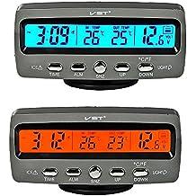 Itian LCD Automoción Electrónico Relojes, Interior del Coche y Termómetro Exterior, Monitorización de Voltaje, Despertador, Multifuncional