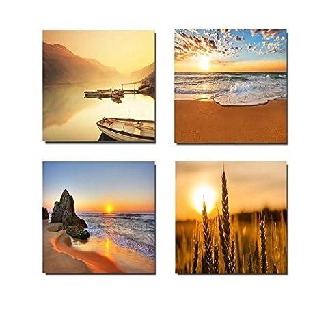 MOXO Orange Sunshine Sunset Boot Leinwand Bilder 4Platten Abstrakt Sea