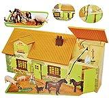 Unbekannt Komplettset: Pferdestall / Bauernhof mit Tiere + Zubehör - 1/64 - für Kinder Pferd zum Spielen + Bauen aus Plastik / Kunststoff - Gestüt - Farmtiere Deko Tier - Spielwelt Spielset