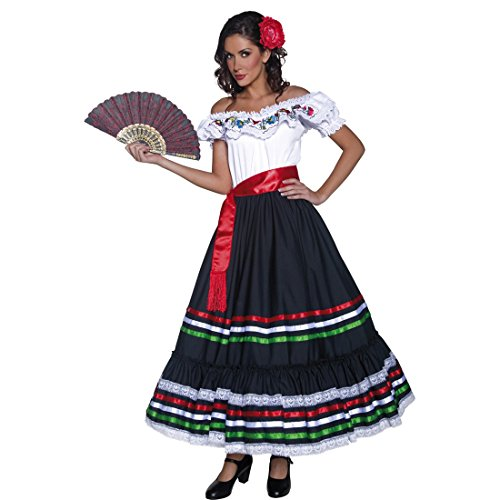 NET TOYS Faschingskostüm Spanierin Kostüm Senorita S 36/38 Flamencokleid Carmen Spanisches Kleid Fasching Karnevalskostüm Zigeunerin Westernkostüm - Für Erwachsene Spanierin Kostüm