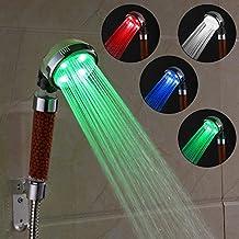 AMZTM Tamaño Universal Cabeza De Ducha De Arco Iris Iones Negativos Cambio De 4 Colores Luz Led Temp Controlado Filtro De Cloro Boquilla De Bañera